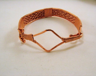 Handwoven Copper Bracelet Bangle, Wire Wrapped Copper Bracelet, Copper Bracelet