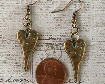 HEART Earrings Patina Turquoise Green Bronze Antiqued Gold