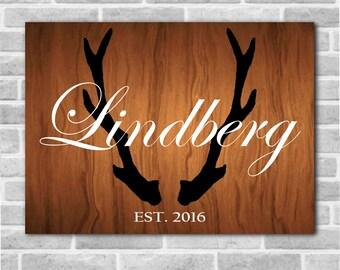 Personalized Last Name Established Wooden Sign with Antler Background, Deer Antlers, Rustic Decor, Established Sign, Wedding Gift