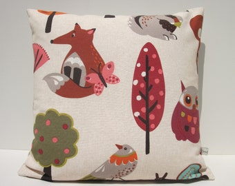 Woodland Animals children's cushion cover in 100% printed cotton fabric with plain oatmeal back, to fit an 18x18inch (45x45cm) cushion pad.