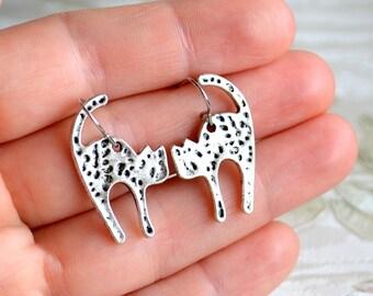 Cat earrings Cat lady gift Cat lady earrings Cat lovers jewelry Cat jewelry Gift for her Silver cat earrings
