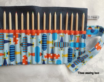 pencil roll with airplane fabric