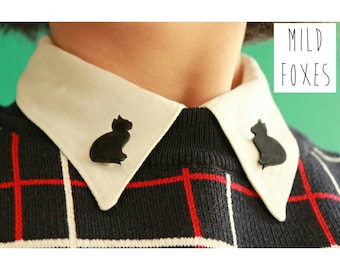 Lovely Little Black Cats Collar Pins // Sweater Pins // Collar Brooches // Collar Clips
