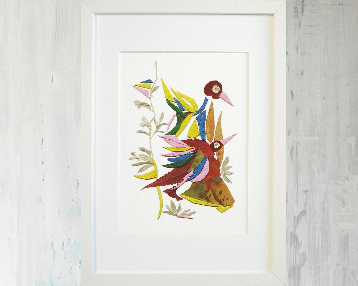 Enmarcado impresión pájaro flor prensada impresión arte