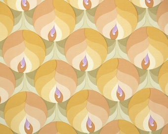Retro Wallpaper by the Yard 70s Vintage Wallpaper – 1970s Mod Yellow and Orange Flowers