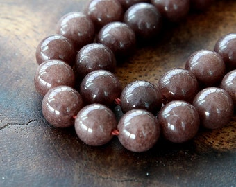 Mountain Jade Beads, Coffee Brown, 8mm Round - 15 Inch Strand - eMJR-N14-8