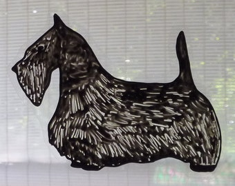Scottish Terrier window cling, suncatcher, faux stained glass, decal