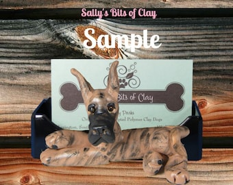 Brindle Great Dane dog cropped ears HOLDER for: Business Cards / Cell Phones / Iphones / Post It Notes OOAK sculpture Sally's Bits of Clay