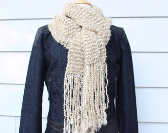 Hand knit scarf, women's scarves, long scarf with fringe, long fringe scarf, cream winter scarf, gift for her, mothers day gift
