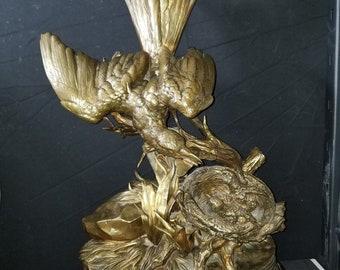 "Jules Moigniez Bronze (1835-1894) Bird Feeding Chicks Sculpture 21"" x 13"""