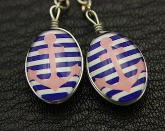 Anchor Earrings Double sided cabochon,Nautical Earrings, Ocean Earrings, Gifts for her (1318B)