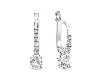 14k Dangle Studs 4-Prong Basket Asscher Cut Diamond Stud Earrings 0.50 ct. tw. (H-I, I1)