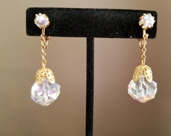 Vintage Crystal & Gold Dangle Clip On Earrings