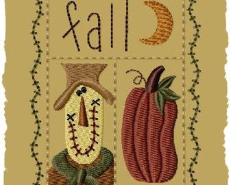 Primitive Machine Embroidery Design-Fall Sampler--Version 1--(4x4)-INSTANT DOWNLOAD