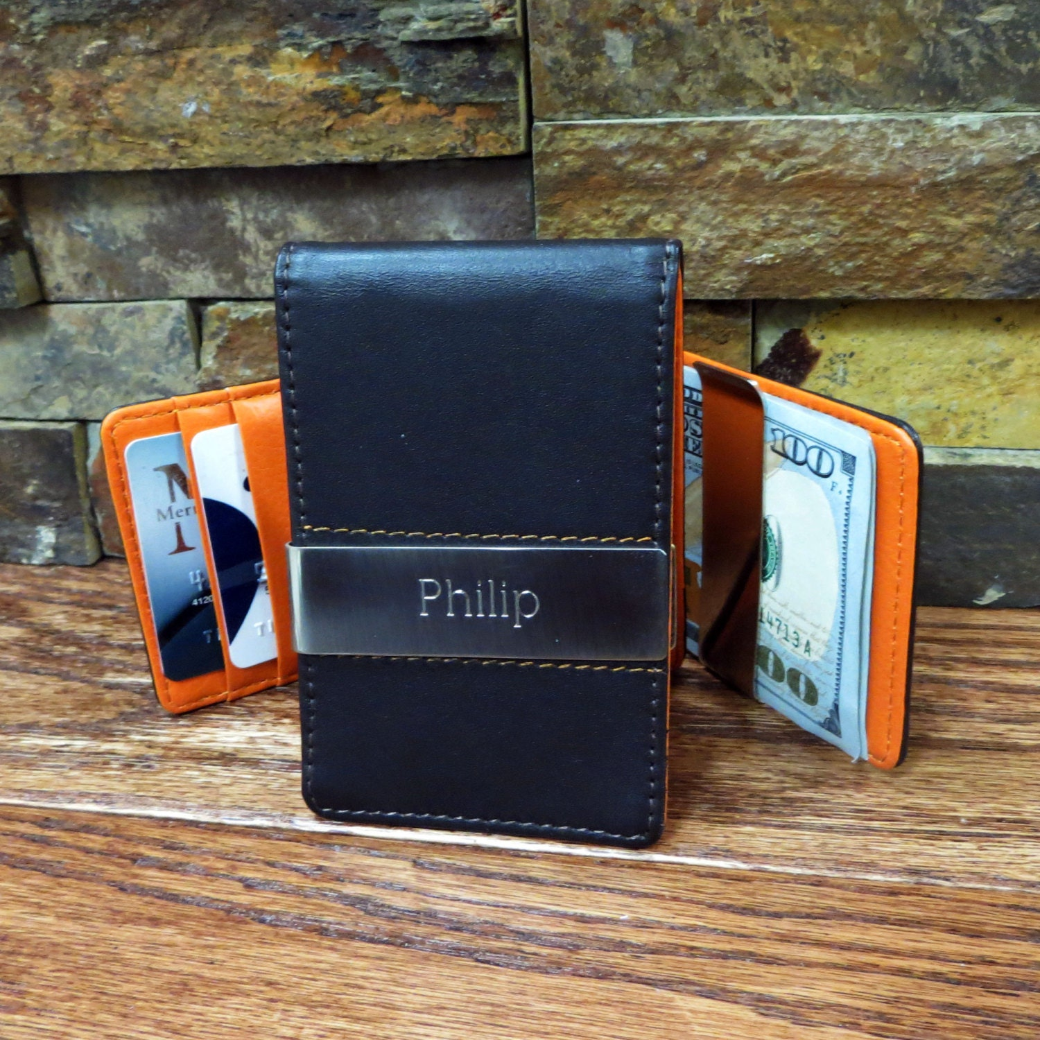 Leather Money Clip - Wallet and Card Holder - Engraved - Personalized -Groomsmen - Corporate -(280)