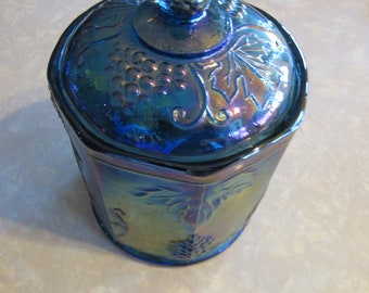 Vintage Indiana Harvest Blue Carnival Glass Canister with Lid