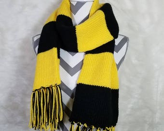 black and yellow long scarf - knit scarf