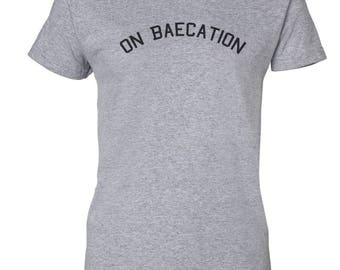 On Baecation Custom Women's Ultra Cotton Gildan Fashion T-Shirt-Sport Gray