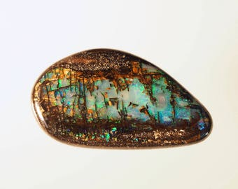 28 ct. Natural Boulder Opal wood fossil from Queensland, Australia. Outstanding pattern. Loose opal cabochon.