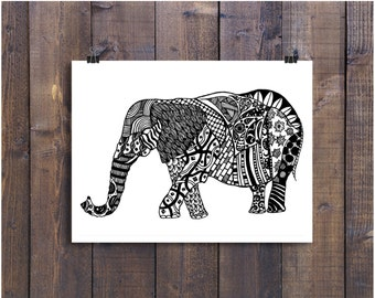 Elephant Art, Black and White Art, Pen and Ink Animals, Elephant 4 x 6 Print, Elephant Drawing, Nursery Art, Ink Elephant, Doodle Art