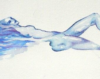 Female nude blue sensual art woman watercolor Original Ooak