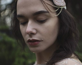 Pink Gold Beaded Chain Headpiece 1920s Vintage Great Gatsby Flapper Headband 1930s V03