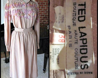 TED LAPIDUS Dress / Ted Lapidus Suit / Vintage Ted Lapidus 2 pc Dress / fits XS-S / 60s French Couture Dress / 60s Pink Silk Dress