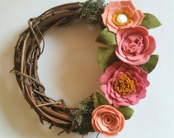 Mini Floral Wreath | Mini Floral Wreath - Mini Rustic Wreath - Felt Flower Wreath - Mini Wreath - Pink Floral - Rustic Floral Wreath -