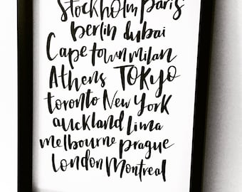 Custom Cities Handlettered Print