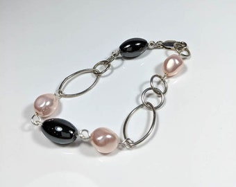 Pink Shell Pearls & Hematite Bracelet Sterling Silver Chunky