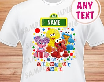 Any Name for Design. Sesame Street. Elmo, Abby Digital File. Printable  Iron on Transfer. Family Birthday Shirts. Within 24 hours.