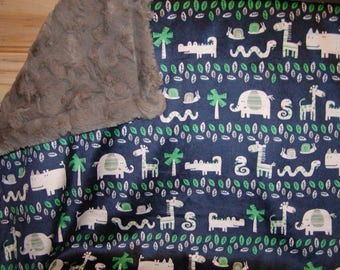 Travel Changing pad..Navy with animals Minky N Gray Fur..Add to diaper bag. Add Name. Match your carseat canopy(see fashionfairytales).