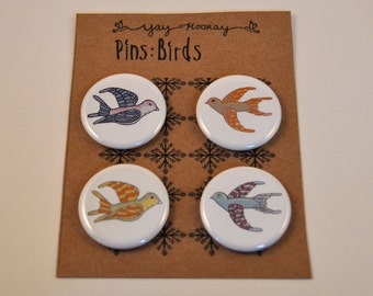 Flying Birds, pin button badges, magnets, hand drawn, illustrations