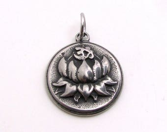 Ohm Pendant, Lotus Pendant, Stainless Steel Charm, Jewelry Pendant, SST Findings 19mm, Set of 3, Ohm Charm, Lotus Flower Charm