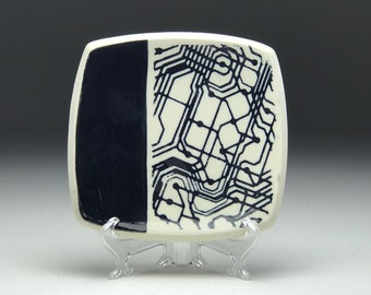 Ceramic square plate, Circuit board, handmade dish, black and white, artist made, key bowl, trinket dish, gift for nerd geek, him guy gift