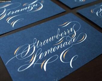 FOOD LABEL CARDS Calligraphy script wedding dinner elegant escort table cards custom