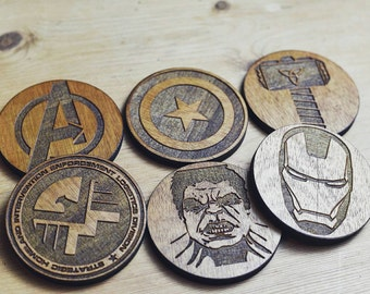 Set of 6 Avengers Inspired Wooden Coasters