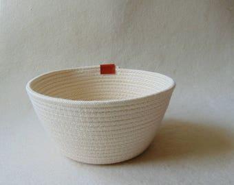 Cotton Rope Bowl, Storage Cotton Basket, Naturl Cotton Bowl, Coiled Storage Bowl,  Eco Friendly Vegan Gifts