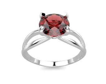 White Gold Garnet Engagement Ring Gold Garnet Ring White Gold Engagement Ring 14k Garnet Engagement Ring Garnet Ring