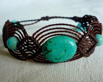 brown macramé bracelet