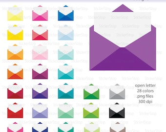 Mail or Open Letter Icon Digital Clipart in Rainbow Colors - Instant download PNG files