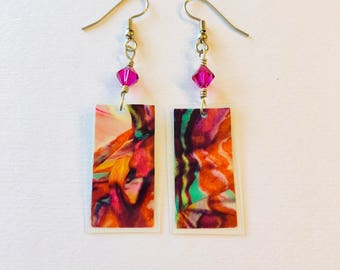 Digital Print Recycled Magazine Earrings