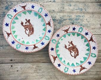 Bucking Bronco Western Plates Cowboy Decor, Western Decor Cowboy Plates