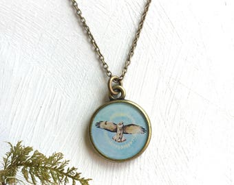 Red Tailed Hawk Bronze Necklace