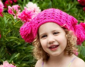 Chapeau de pom pom texturé au crochet