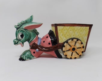Vintage donkey planter ceramic flower pot mule pulling cart