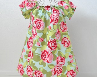 Toddler Girls Peasant Dress Flutter Sleeves or Peasant Sleeves in Amy Butler Tumbled Roses