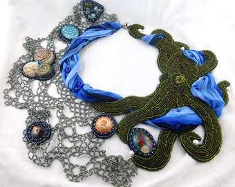 Necklace, Bead Embroidery, octopus