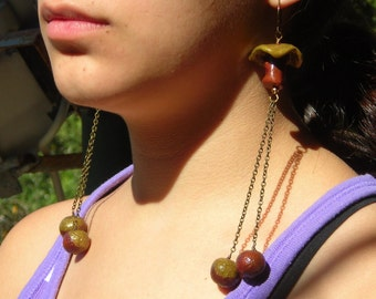 Mushroom Eggs, extra long earrings nature inspired, wild forest woods, organic handmade polymer clay beads and brass, chain earrings