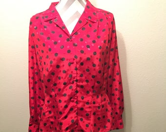 Vintage 90's red and black polka dot long sleeve button down blouse